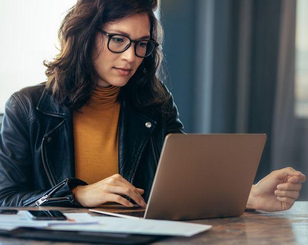 woman casual glasses laptop